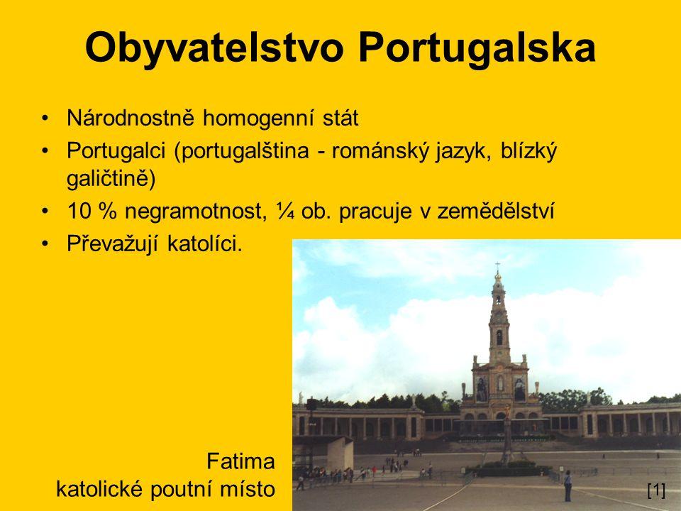 Obyvatelstvo Portugalska Národnostně homogenní stát Portugalci (portugalština - románský jazyk, blízký galičtině) 10 % negramotnost, ¼ ob.
