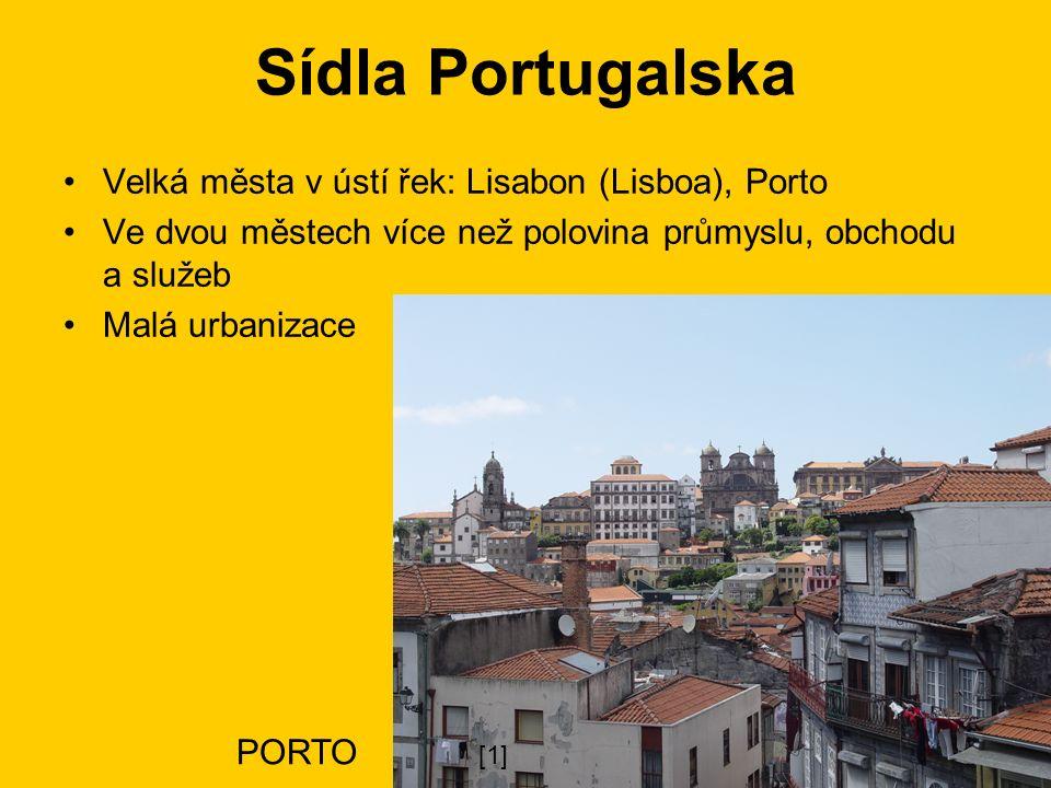 Sídla Portugalska Velká města v ústí řek: Lisabon (Lisboa), Porto Ve dvou městech více než polovina průmyslu, obchodu a služeb Malá urbanizace PORTO [1]