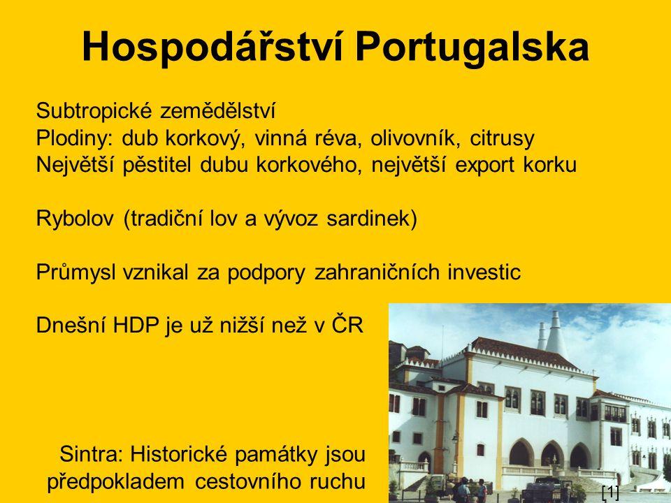 Hospodářství Portugalska Subtropické zemědělství Plodiny: dub korkový, vinná réva, olivovník, citrusy Největší pěstitel dubu korkového, největší export korku Rybolov (tradiční lov a vývoz sardinek) Průmysl vznikal za podpory zahraničních investic Dnešní HDP je už nižší než v ČR Sintra: Historické památky jsou předpokladem cestovního ruchu [1]