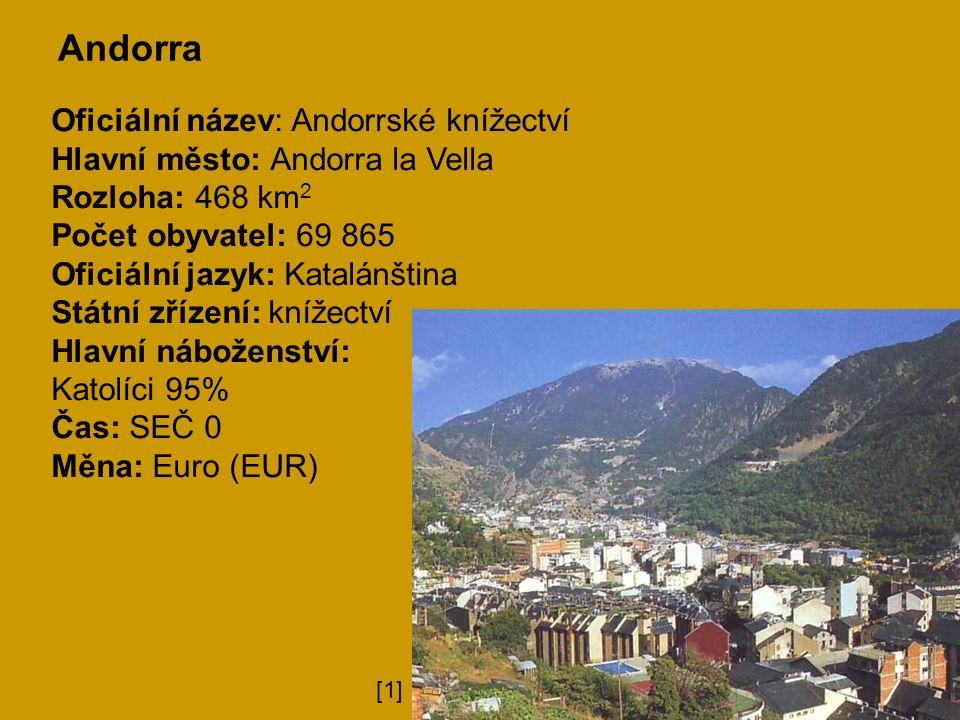 Andorra Oficiální název: Andorrské knížectví Hlavní město: Andorra la Vella Rozloha: 468 km 2 Počet obyvatel: 69 865 Oficiální jazyk: Katalánština Státní zřízení: knížectví Hlavní náboženství: Katolíci 95% Čas: SEČ 0 Měna: Euro (EUR) [1]