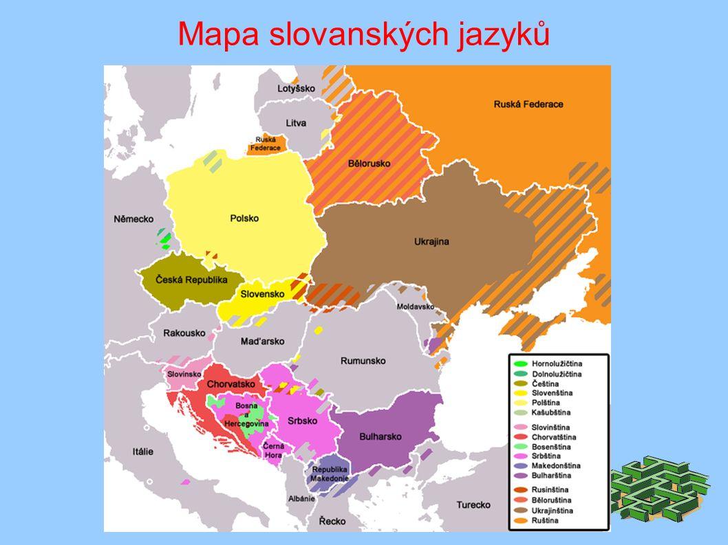 Mapa slovanských jazyků