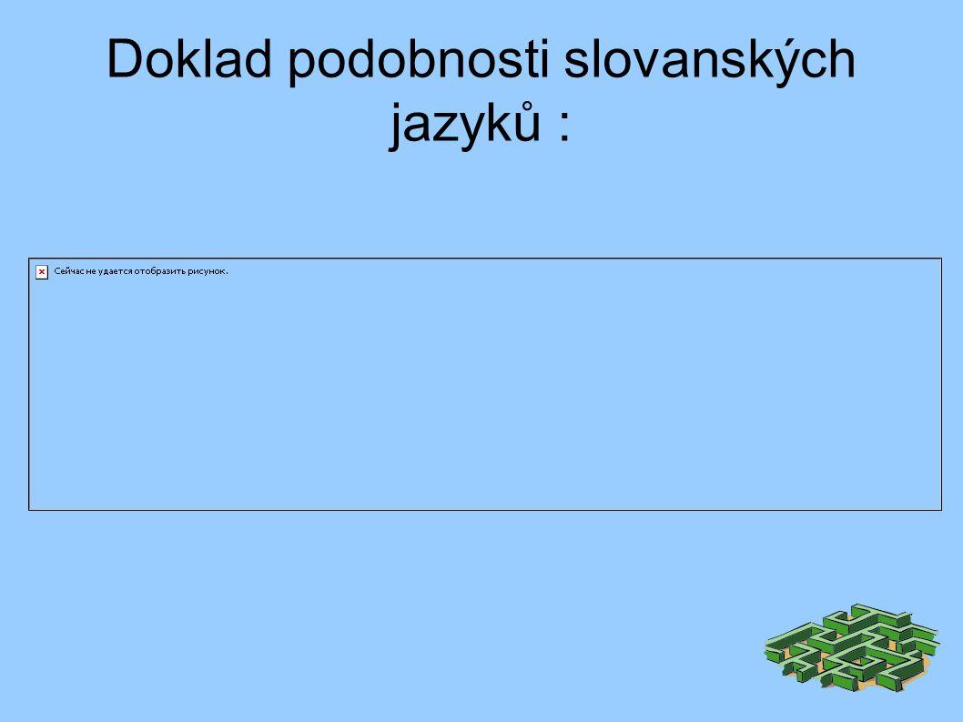 Doklad podobnosti slovanských jazyků :