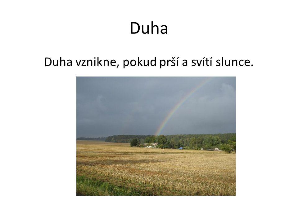 Duha Duha vznikne, pokud prší a svítí slunce.