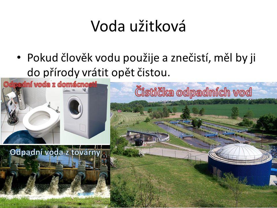 Voda užitková Pokud člověk vodu použije a znečistí, měl by ji do přírody vrátit opět čistou.