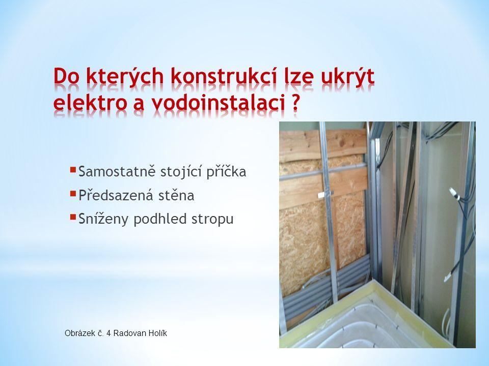  Samostatně stojící příčka  Předsazená stěna  Sníženy podhled stropu Obrázek č. 4 Radovan Holík