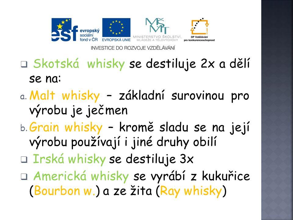 Whisky  národní nápoj anglicky mluvícího světa  rozlišujeme 3 základní druhy: 1. Skotská whisky 2. Irská whisky 3. Americká whisky