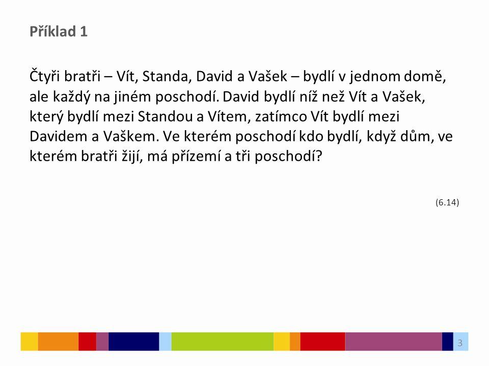 Příklad 1 Čtyři bratři – Vít, Standa, David a Vašek – bydlí v jednom domě, ale každý na jiném poschodí.
