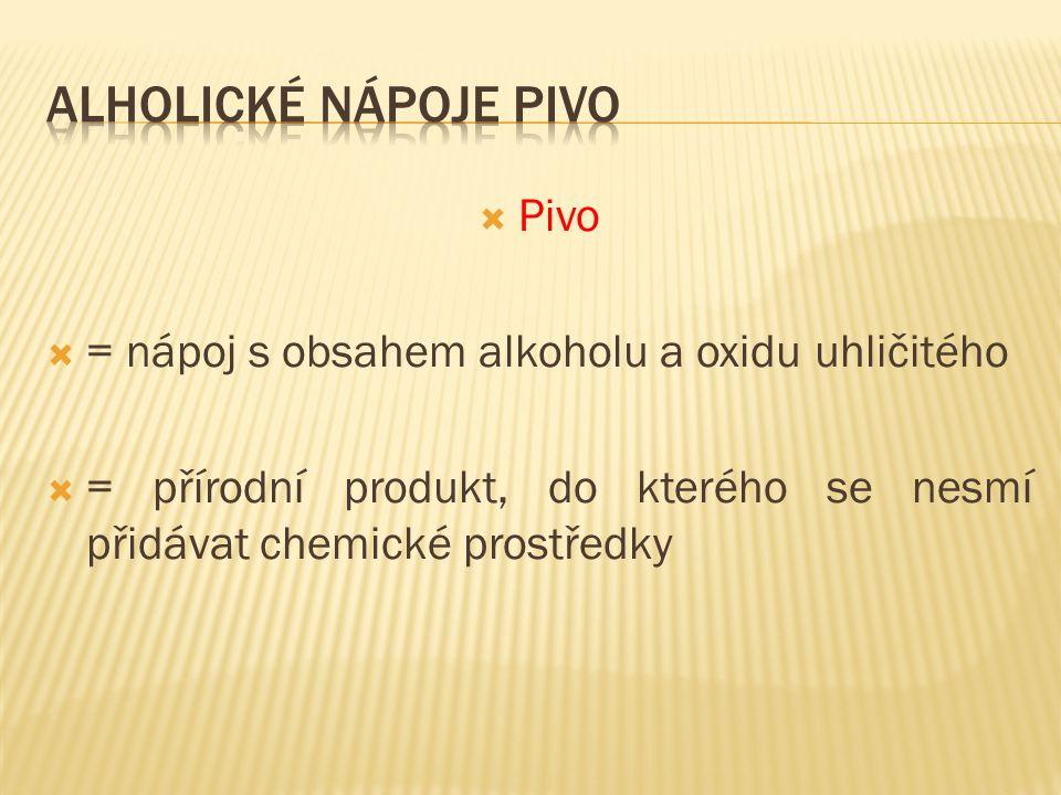  Pivo  = nápoj s obsahem alkoholu a oxidu uhličitého  = přírodní produkt, do kterého se nesmí přidávat chemické prostředky