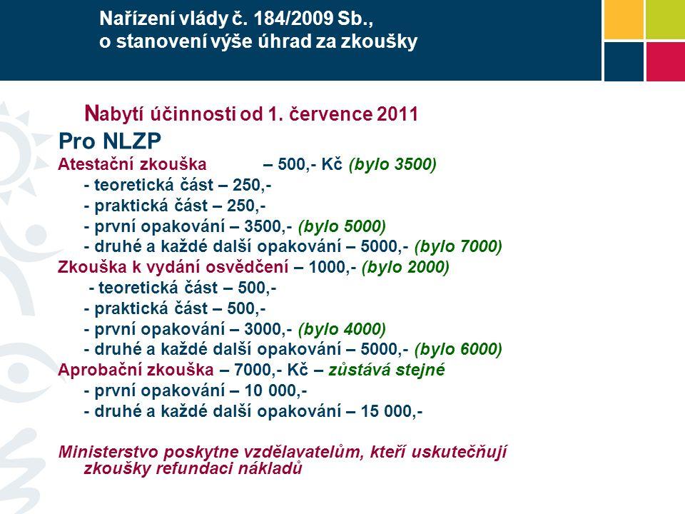 Nařízení vlády č. 184/2009 Sb., o stanovení výše úhrad za zkoušky N abytí účinnosti od 1.