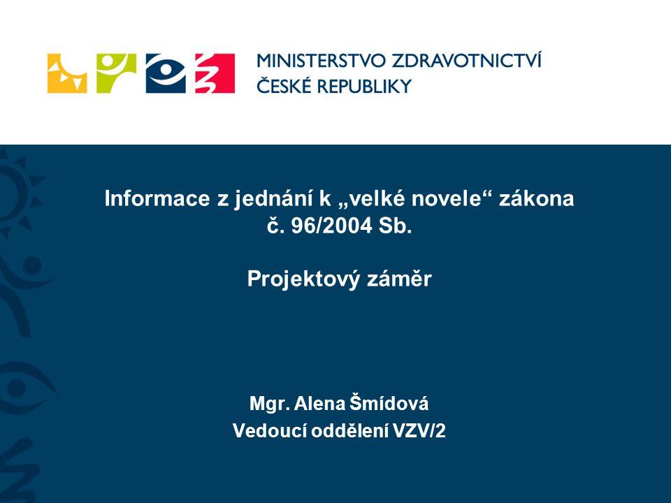 """Mgr. Alena Šmídová Vedoucí oddělení VZV/2 Informace z jednání k """"velké novele zákona č."""