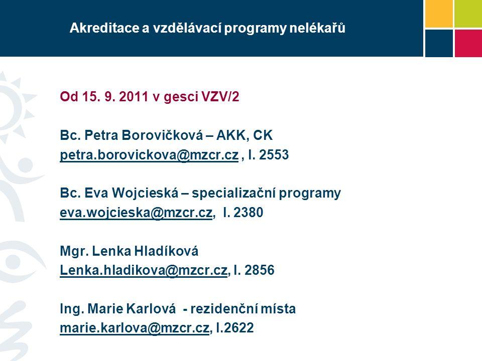 Akreditace a vzdělávací programy nelékařů Od 15. 9.