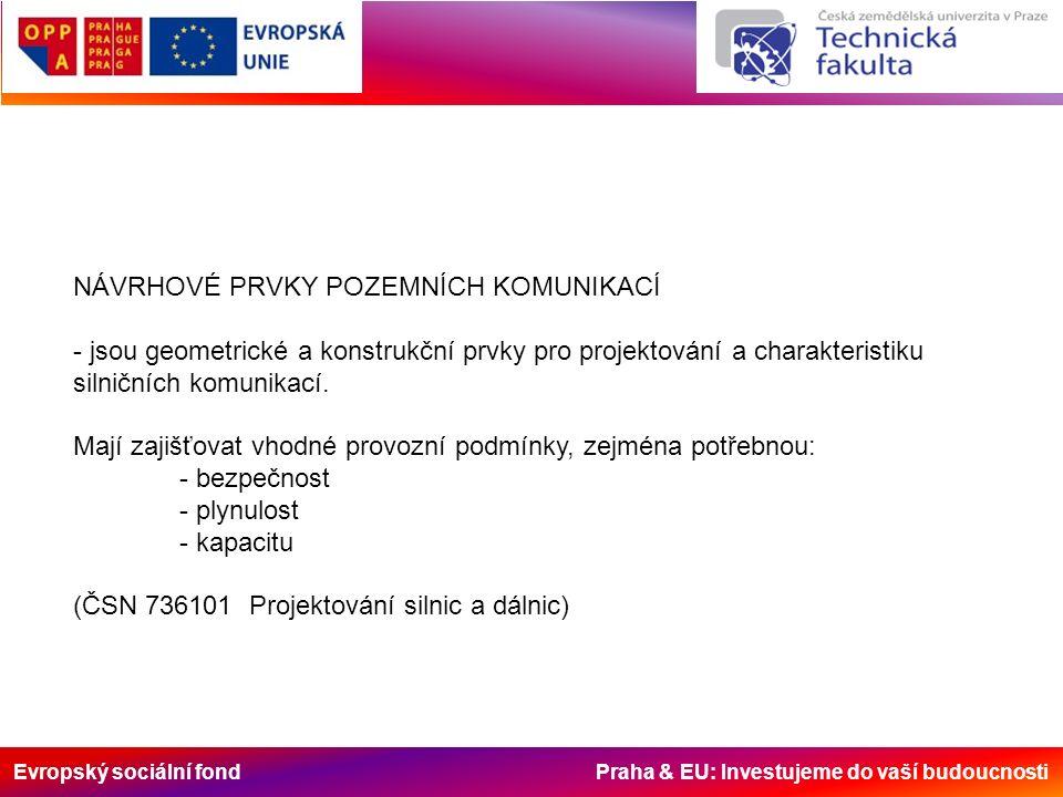 Evropský sociální fond Praha & EU: Investujeme do vaší budoucnosti NÁVRHOVÉ PRVKY POZEMNÍCH KOMUNIKACÍ - jsou geometrické a konstrukční prvky pro projektování a charakteristiku silničních komunikací.