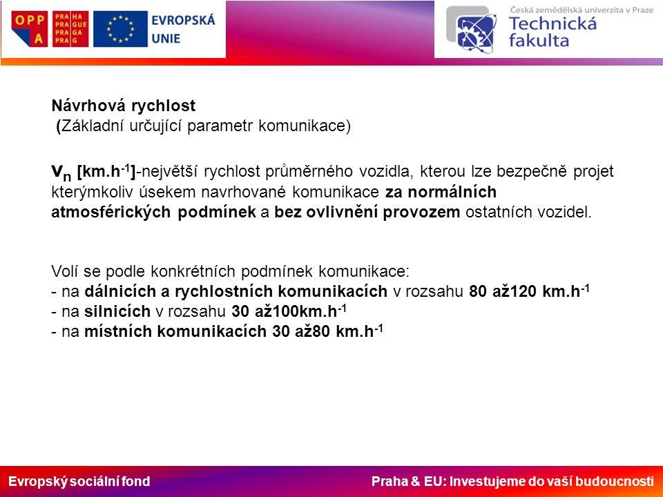 Evropský sociální fond Praha & EU: Investujeme do vaší budoucnosti Návrhová rychlost (Základní určující parametr komunikace) v n [km.h -1 ]-největší rychlost průměrného vozidla, kterou lze bezpečně projet kterýmkoliv úsekem navrhované komunikace za normálních atmosférických podmínek a bez ovlivnění provozem ostatních vozidel.