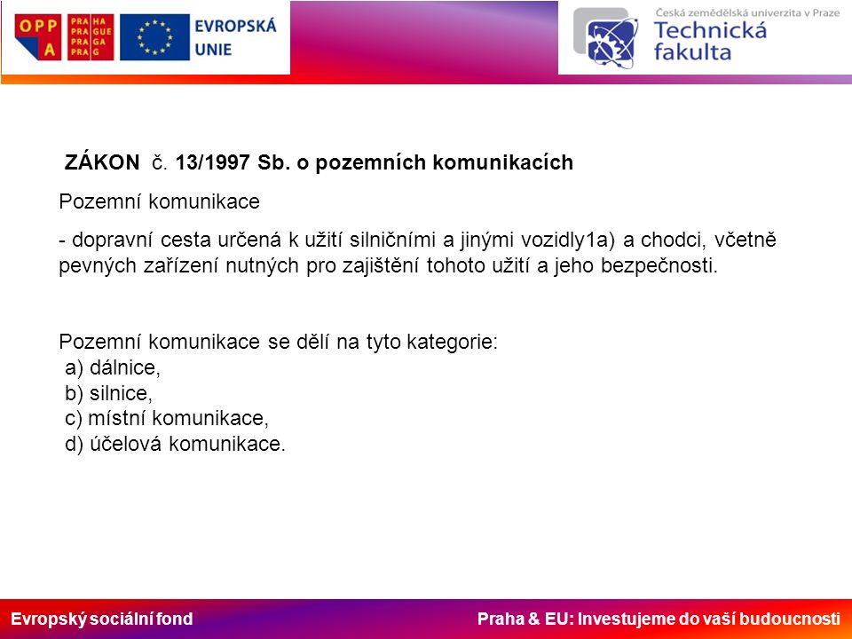 Evropský sociální fond Praha & EU: Investujeme do vaší budoucnosti Umístění parkovacích stání Parkovací stání se nesmí navrhovat: -v rozhledových polích křižovatek a sjezdů - na křižovatce a ve vzdálenosti kratší než 5 m před hranicí křižovatky a 5 m za ní, tento zákaz neplatí na stykových křižovatkách na protější straně vyúsťující pozemní komunikace; - v připojovacích, odbočovacích a vyhrazených pruzích; - v prostoru zastávek veřejné linkové osobní dopravy - v prostoru rozhledových polí železničních přejezdů - před přechodem pro chodce/místem pro přecházení v menší vzdálenosti, než uvádí ČSN 73 6110 (rozhledové pole před přechodem pro chodce/místem pro přecházení);