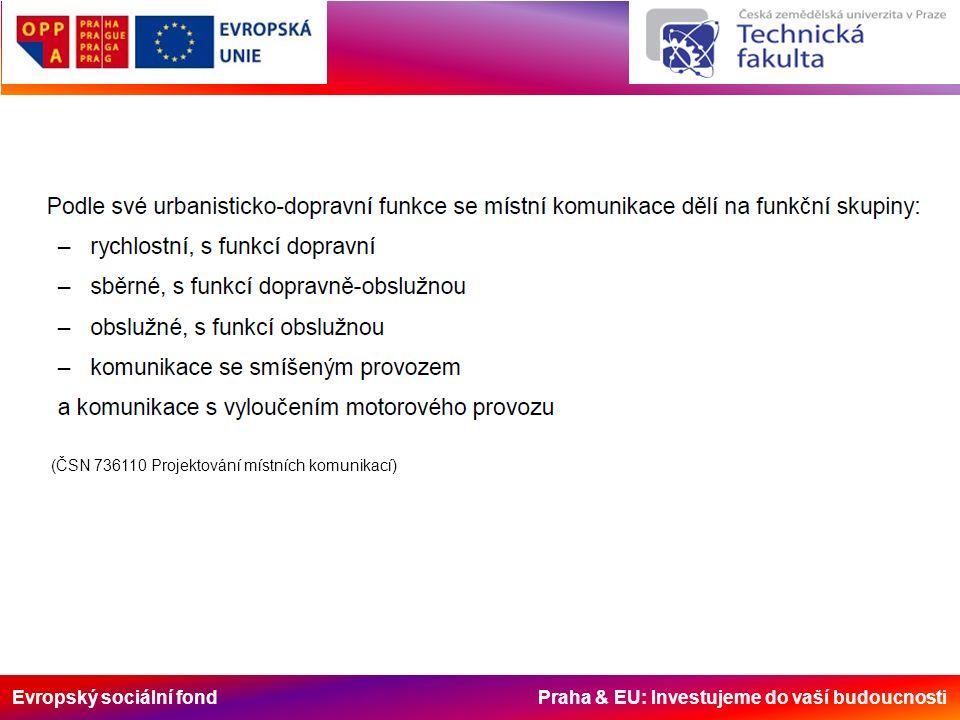Evropský sociální fond Praha & EU: Investujeme do vaší budoucnosti c) podle vztahu k pozemní komunikaci umístěny: - na parkovacích pruzích podél jízdního pásu (podélné stání); - na parkovacích pásech podél jízdního pásu (kolmé nebo šikmé stání); - na středním dělicím pásu směrově rozdělené pozemní komunikace; - na samostatném parkovišti s podélným, šikmým nebo kolmým řazením - - parkovacích stání; - jednotlivé, řadové nebo hromadné garáži.