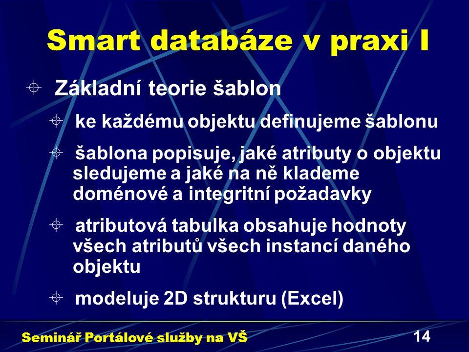 14 Smart databáze v praxi I  Základní teorie šablon  ke každému objektu definujeme šablonu  šablona popisuje, jaké atributy o objektu sledujeme a jaké na ně klademe doménové a integritní požadavky  atributová tabulka obsahuje hodnoty všech atributů všech instancí daného objektu  modeluje 2D strukturu (Excel) Seminář Portálové služby na VŠ