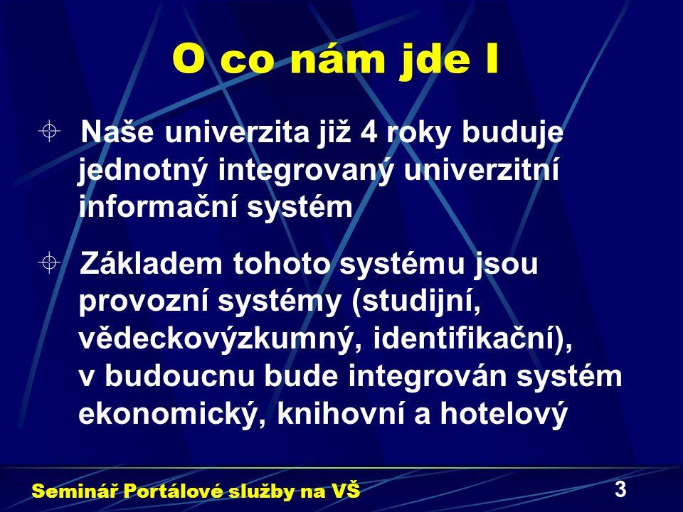 3 O co nám jde I  Naše univerzita již 4 roky buduje jednotný integrovaný univerzitní informační systém  Základem tohoto systému jsou provozní systémy (studijní, vědeckovýzkumný, identifikační), v budoucnu bude integrován systém ekonomický, knihovní a hotelový Seminář Portálové služby na VŠ