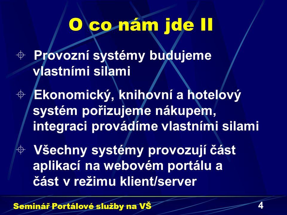 4 O co nám jde II  Provozní systémy budujeme vlastními silami  Ekonomický, knihovní a hotelový systém pořizujeme nákupem, integraci provádíme vlastními silami  Všechny systémy provozují část aplikací na webovém portálu a část v režimu klient/server Seminář Portálové služby na VŠ