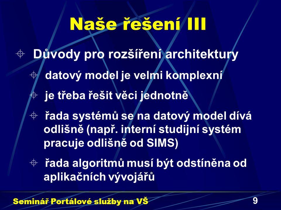 9 Naše řešení III  Důvody pro rozšíření architektury  datový model je velmi komplexní  je třeba řešit věci jednotně  řada systémů se na datový model dívá odlišně (např.