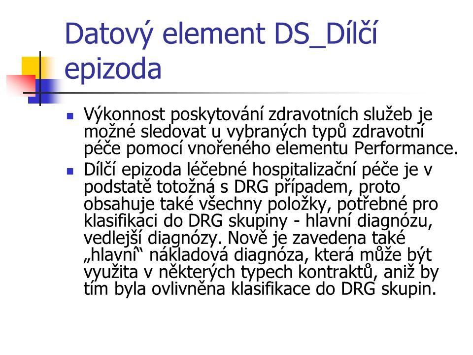 Datový element DS_Dílčí epizoda Výkonnost poskytování zdravotních služeb je možné sledovat u vybraných typů zdravotní péče pomocí vnořeného elementu Performance.