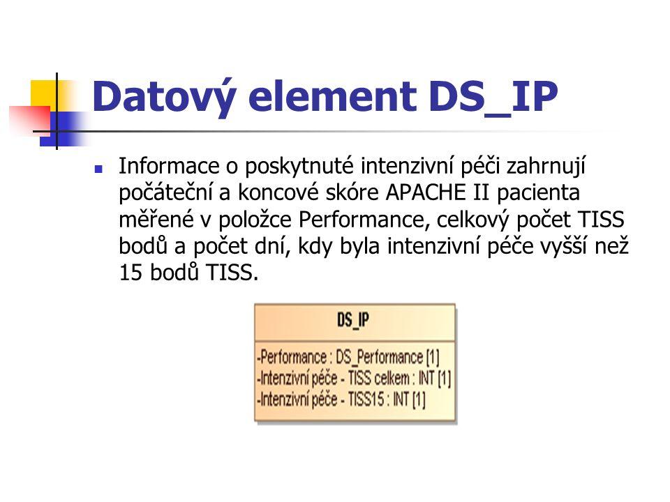 Datový element DS_IP Informace o poskytnuté intenzivní péči zahrnují počáteční a koncové skóre APACHE II pacienta měřené v položce Performance, celkový počet TISS bodů a počet dní, kdy byla intenzivní péče vyšší než 15 bodů TISS.