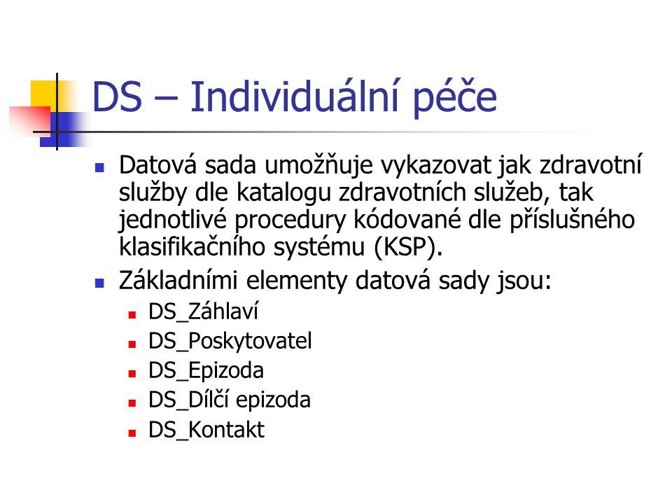 DS – Individuální péče Datová sada umožňuje vykazovat jak zdravotní služby dle katalogu zdravotních služeb, tak jednotlivé procedury kódované dle příslušného klasifikačního systému (KSP).