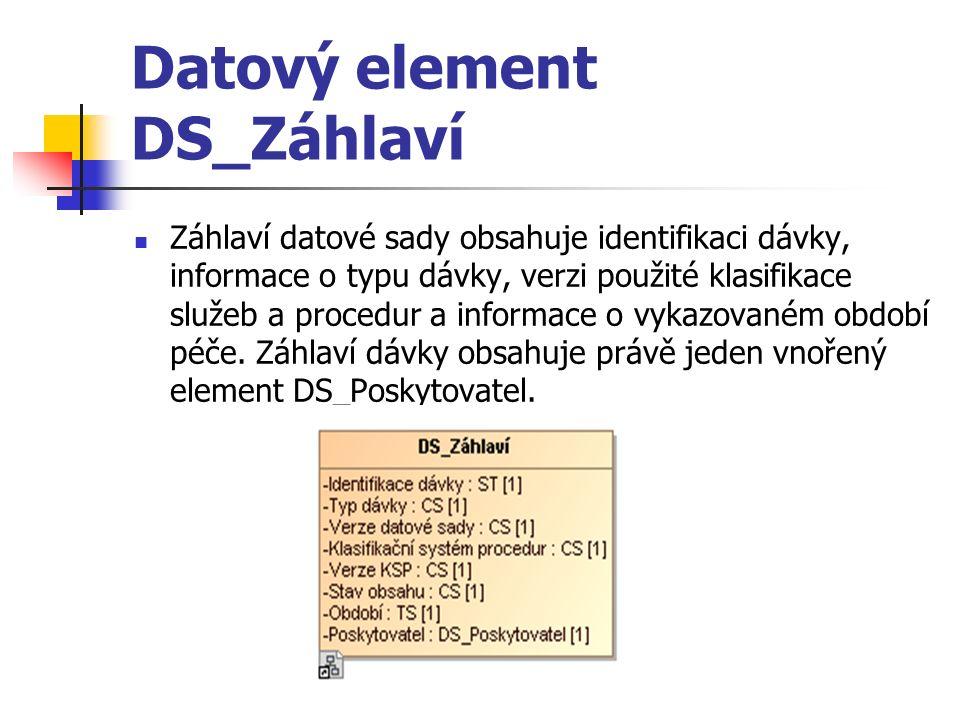 Datový element DS_Záhlaví Záhlaví datové sady obsahuje identifikaci dávky, informace o typu dávky, verzi použité klasifikace služeb a procedur a informace o vykazovaném období péče.