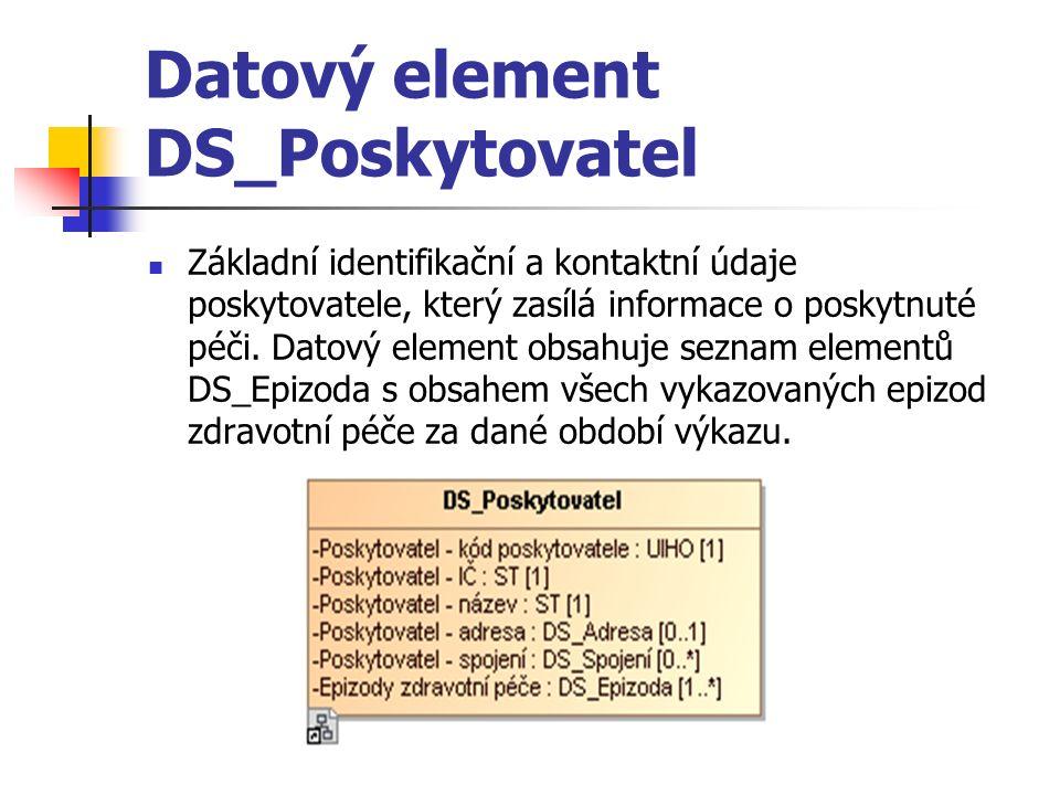 Datový element DS_Epizoda Záznam průběhu epizody zdravotní péče.