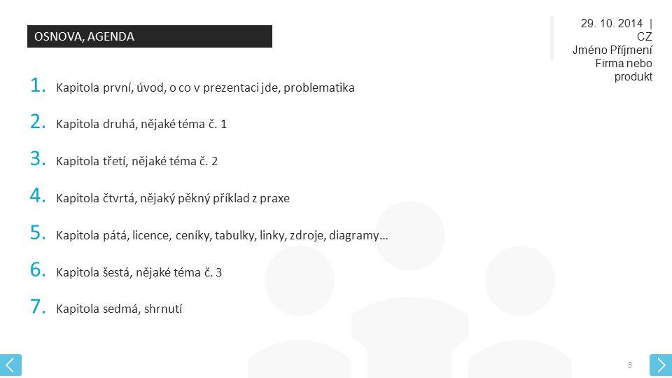 29. 10. 2014 | CZ Jméno Příjmení Firma nebo produkt 3 OSNOVA, AGENDA 1. Kapitola první, úvod, o co v prezentaci jde, problematika 2. Kapitola druhá, n