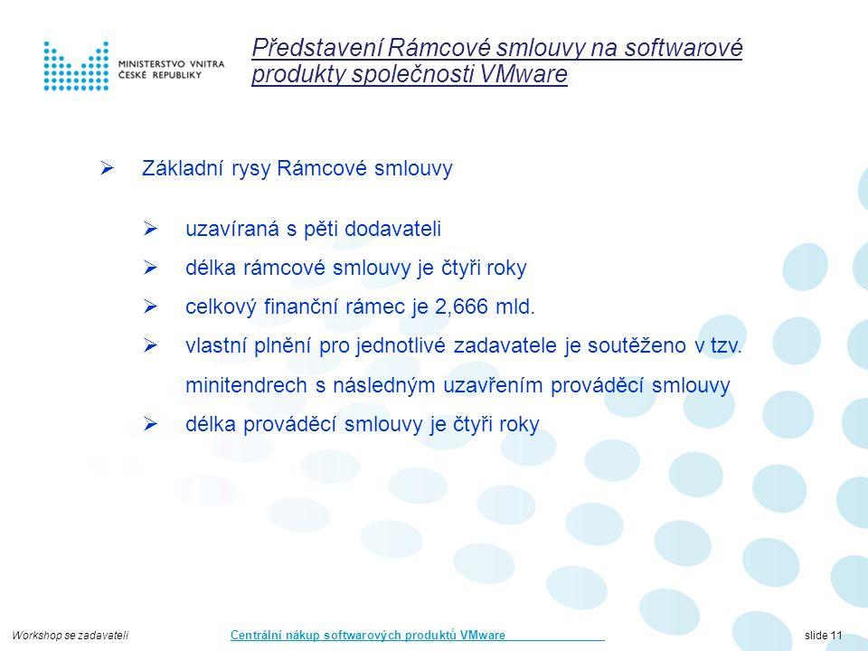 Workshop se zadavateli Centrální nákup softwarových produktů VMware slide 11 Představení Rámcové smlouvy na softwarové produkty společnosti VMware  Základní rysy Rámcové smlouvy  uzavíraná s pěti dodavateli  délka rámcové smlouvy je čtyři roky  celkový finanční rámec je 2,666 mld.