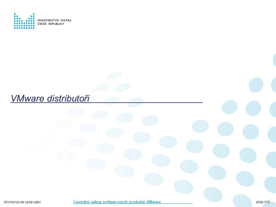Workshop se zadavateli Centrální nákup softwarových produktů VMware slide 112 VMware distributoři