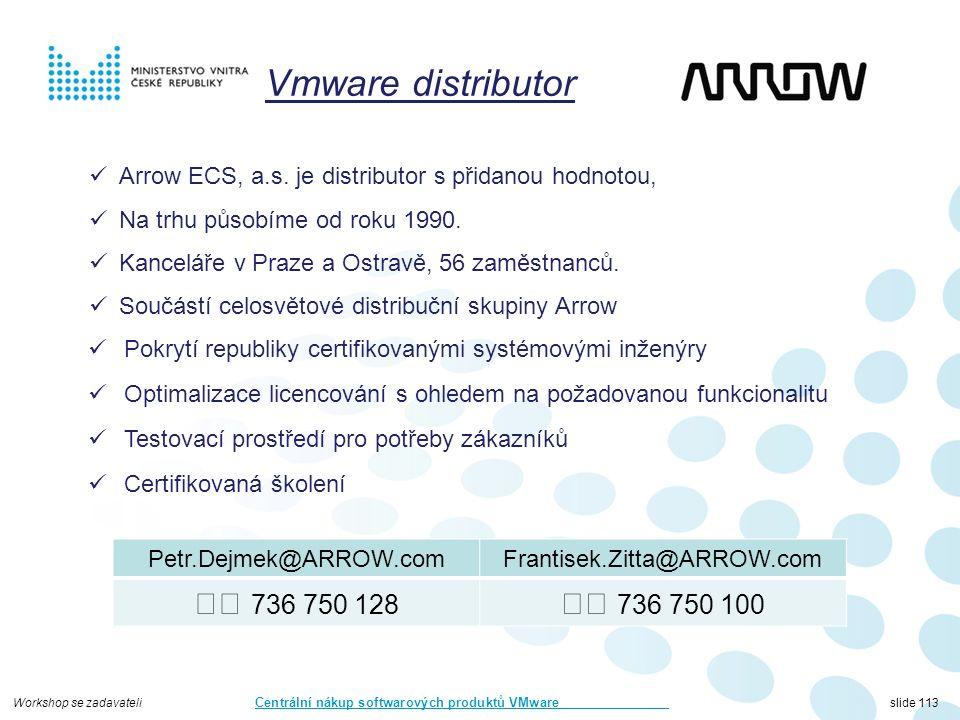 Workshop se zadavateli Centrální nákup softwarových produktů VMware slide 113 Pokrytí republiky certifikovanými systémovými inženýry Optimalizace licencování s ohledem na požadovanou funkcionalitu Testovací prostředí pro potřeby zákazníků Certifikovaná školení Arrow ECS, a.s.