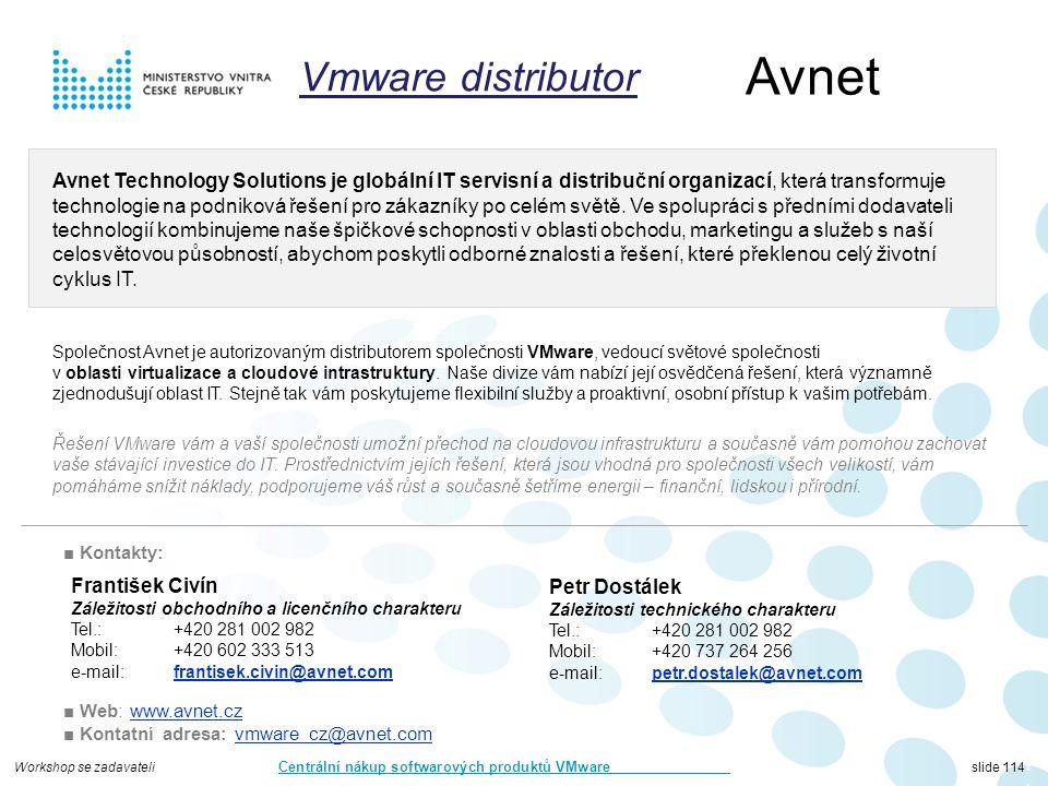 Workshop se zadavateli Centrální nákup softwarových produktů VMware slide 114 Avnet 114114114 Avnet Technology Solutions je globální IT servisní a distribuční organizací, která transformuje technologie na podniková řešení pro zákazníky po celém světě.