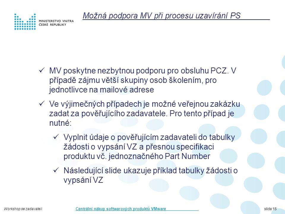Workshop se zadavateli Centrální nákup softwarových produktů VMware slide 15 Možná podpora MV při procesu uzavírání PS MV poskytne nezbytnou podporu pro obsluhu PCZ.