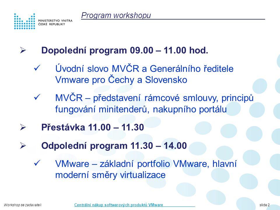 Workshop se zadavateli Centrální nákup softwarových produktů VMware slide 73 CONFIDENTIAL73 vSphere storagenet vRealize Automation vRealize Operations vRealize Business Hyper-V, KVM,..fyzické servery vCloud Suite/vRealize Suite Amazon AWS vCloud Air MS Azure Hybrid Cloud tradiční aplikacePaaSSaaS samo obslužný portál VDI, remote appsOffline desktopMDM EUC + Operations = vSOM