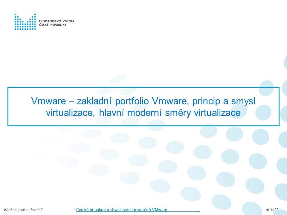 Workshop se zadavateli Centrální nákup softwarových produktů VMware slide 28 Vmware – zakladní portfolio Vmware, princip a smysl virtualizace, hlavní moderní směry virtualizace