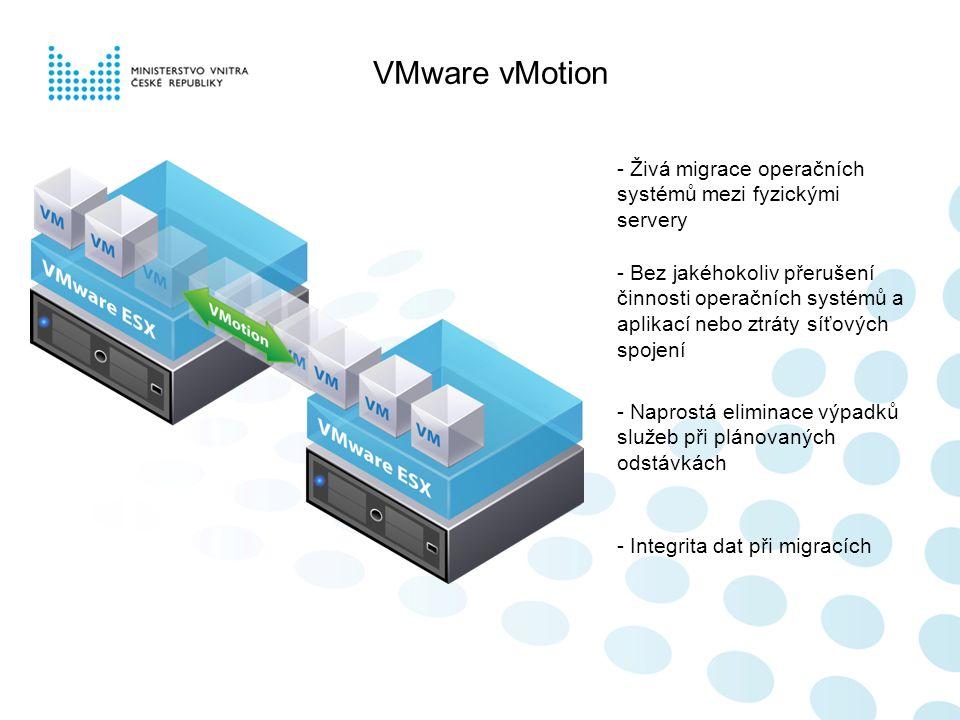 VMware vMotion - Živá migrace operačních systémů mezi fyzickými servery - Naprostá eliminace výpadků služeb při plánovaných odstávkách - Integrita dat při migracích - Bez jakéhokoliv přerušení činnosti operačních systémů a aplikací nebo ztráty síťových spojení