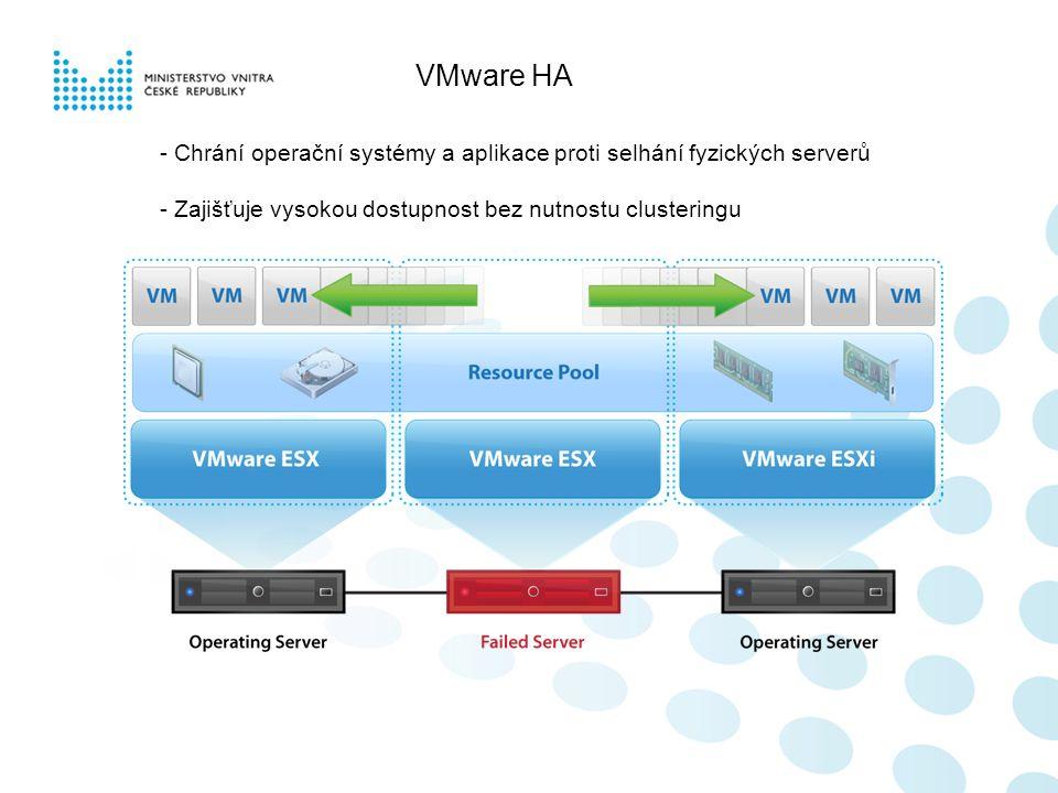 VMware HA - Chrání operační systémy a aplikace proti selhání fyzických serverů - Zajišťuje vysokou dostupnost bez nutnostu clusteringu