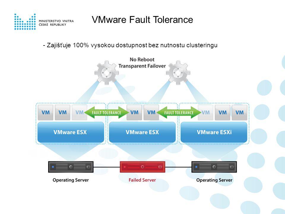 VMware Fault Tolerance - Zajišťuje 100% vysokou dostupnost bez nutnostu clusteringu