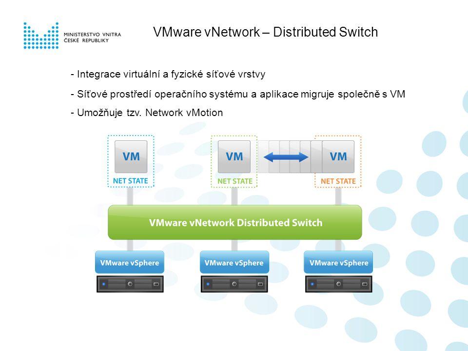 VMware vNetwork – Distributed Switch - Integrace virtuální a fyzické síťové vrstvy - Síťové prostředí operačního systému a aplikace migruje společně s VM - Umožňuje tzv.