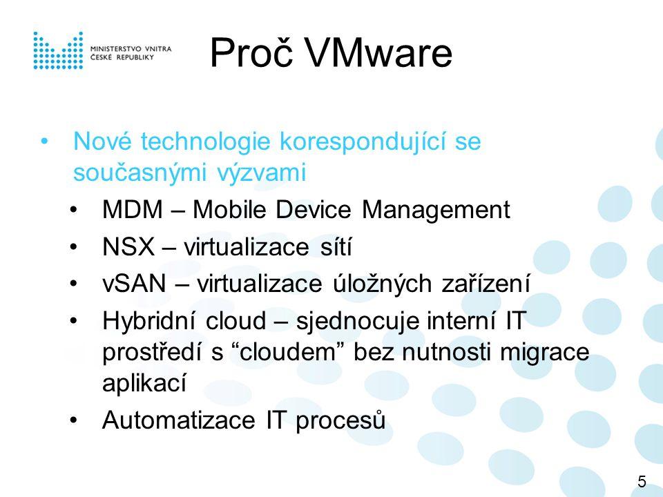VMware DPM - Využívá automaticky vMotion a minimalizuje počet běžících fyzických serverů – eliminace nákladů na napájení a chlazení