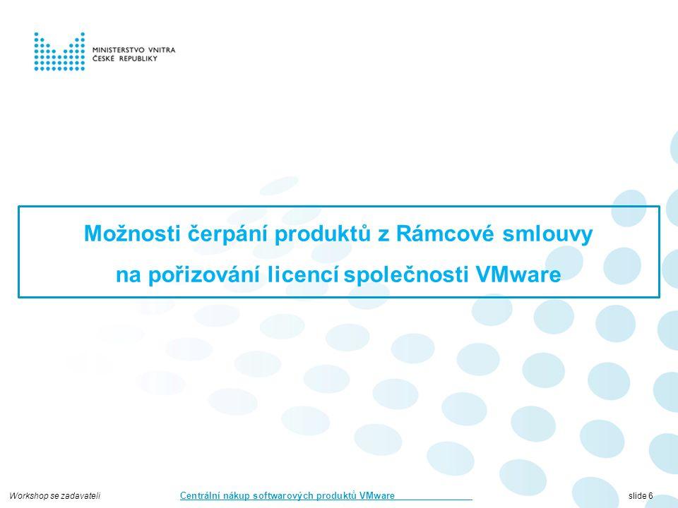 Workshop se zadavateli Centrální nákup softwarových produktů VMware slide 7 Program dopolední části Představení rámcové smlouvy Proces soutěžení a uzavírání prováděcích smluv Představení nákupního portálu Povinné výstupy z minitendrů