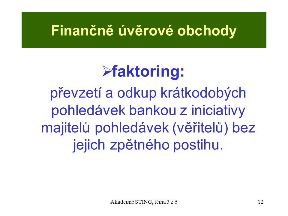Akademie STING, téma 3 z 612 Finančně úvěrové obchody  faktoring: převzetí a odkup krátkodobých pohledávek bankou z iniciativy majitelů pohledávek (v