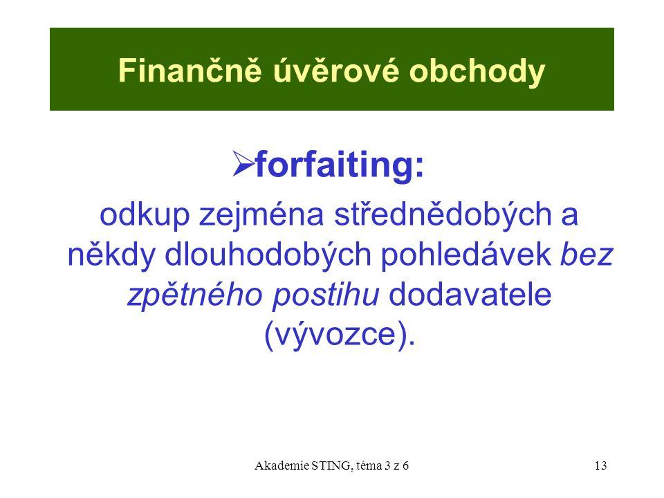 Akademie STING, téma 3 z 613 Finančně úvěrové obchody  forfaiting: odkup zejména střednědobých a někdy dlouhodobých pohledávek bez zpětného postihu d