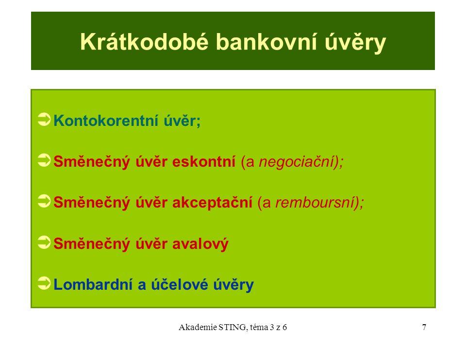 Akademie STING, téma 3 z 67 Krátkodobé bankovní úvěry  Kontokorentní úvěr;  Směnečný úvěr eskontní (a negociační);  Směnečný úvěr akceptační (a rem