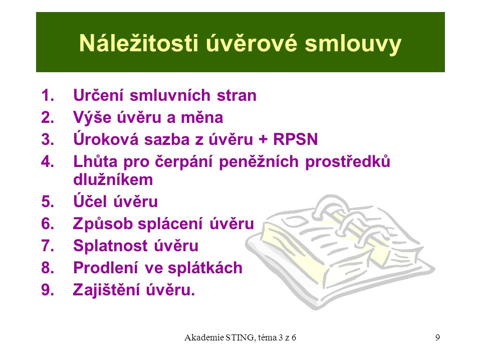 Akademie STING, téma 3 z 610 Klasifikace pohledávek (opatření ČNB č.