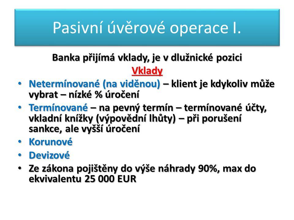 Pasivní úvěrové operace I.