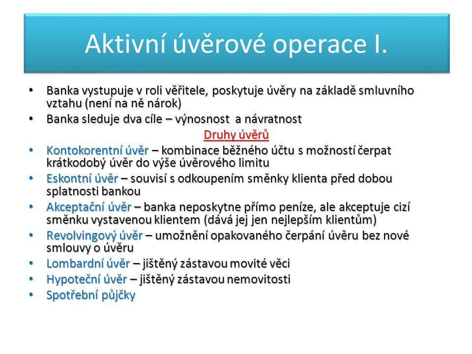 Aktivní úvěrové operace I.