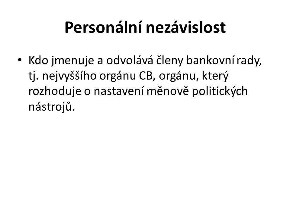 Personální nezávislost Kdo jmenuje a odvolává členy bankovní rady, tj.