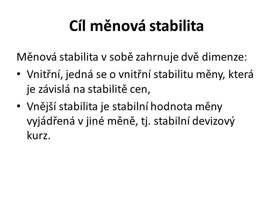 Cíl měnová stabilita Měnová stabilita v sobě zahrnuje dvě dimenze: Vnitřní, jedná se o vnitřní stabilitu měny, která je závislá na stabilitě cen, Vnější stabilita je stabilní hodnota měny vyjádřená v jiné měně, tj.